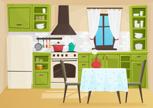 Vector Cartoon Volumetric Illustration Of Vintage Retro Kitchen Interior.