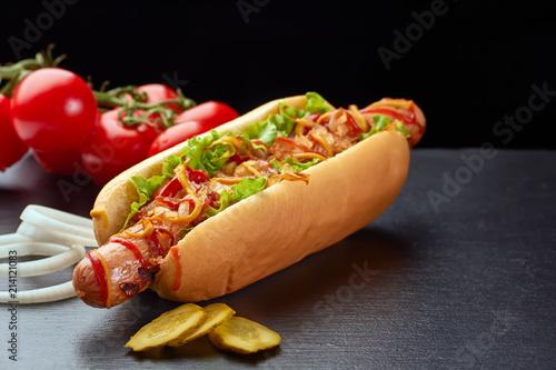 Hot dog vith vegetables on dark slate background