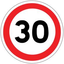 Panneau Routier En France : Limite De Vitesse à 30 Km/h (trente Kilomètres Par Heure)