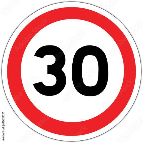 Fotomural Panneau routier en France : limite de vitesse à 30 km/h (trente kilomètres par h