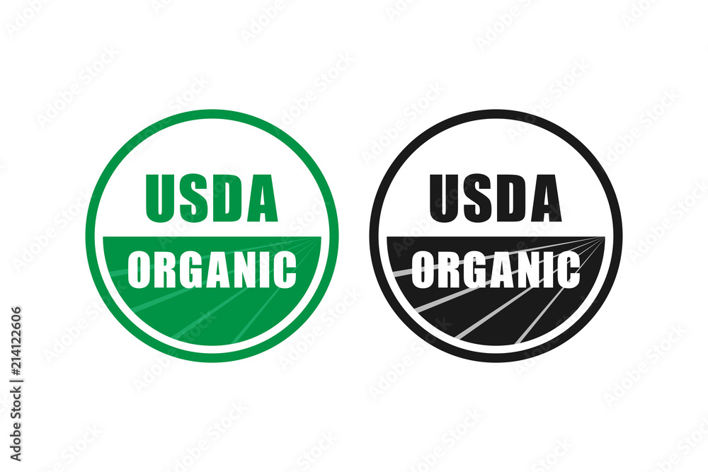 Fototapeta usda organic certified stamp symbol no gmo vector icon
