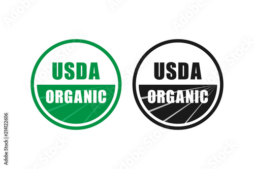 usda organic certified stamp symbol no gmo vector icon