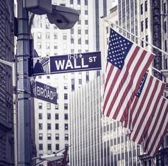 Fototapeta Wall Street in New York city, USA.