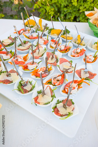 Fotomural assortment Appetizers and finger food