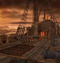 Pirate Ship Deck With Stairs A...