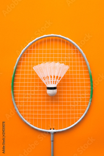 Photo Badminton racket and shuttlecock