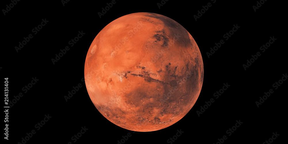 Fototapety, obrazy: Mars red planet black background