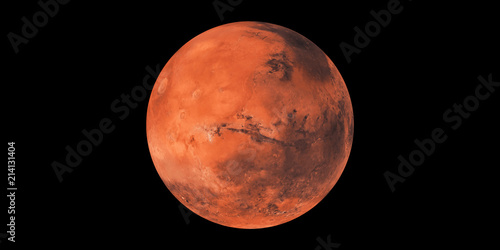Obraz na plátne Mars red planet black background