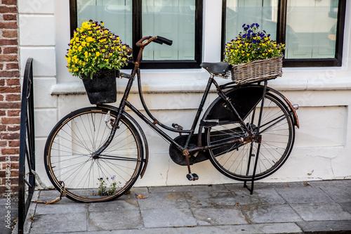 Foto op Aluminium Fiets Bike,flowers