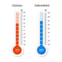 Vector Celsius And Fahrenheit Meteorology Thermometers Set