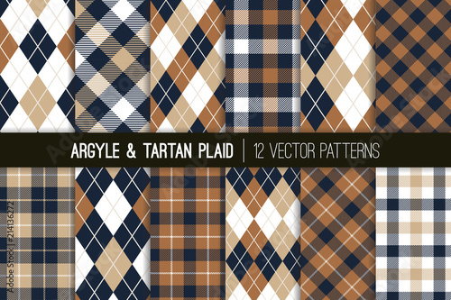 Brown, Tan and Navy Blue Argyle and Tartan Plaid Vector Patterns Canvas Print