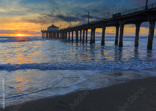 Foto op Plexiglas Napels Sunset, Manhattan Beach Pier