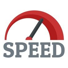 Red Speedometer Logo. Flat Illustration Of Red Speedometer Vector Logo For Web Design