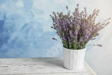 Pot With Blooming Lavender Flowers On Table