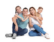 Happy family with children on white background