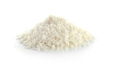 Raw Rice Flakes On White Backg...