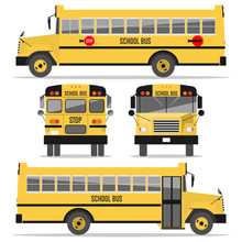 School Bus. Isolated On White Background. Illustration In A Flat