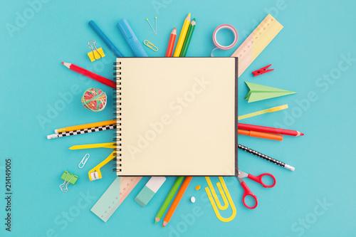 Obraz School notebook and stationery. Back to school, creative concept, flat lay.. - fototapety do salonu