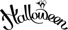 Black Halloween Lettering With Cat On White Paper Background.