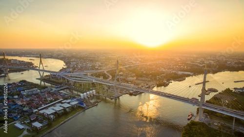 Foto auf Gartenposter Strand aerial view of bhumibol bridge and chaopraya river in bangkok thailand