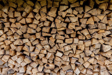 Woodpile, Wall Of Evenly Laid ...
