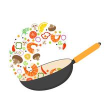 Wok Pan, Tomato, Paprika, Pepp...
