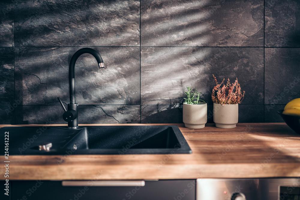 Fototapety, obrazy: Modern black kitchen