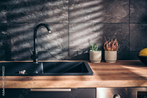 Fotografia, Obraz  Modern black kitchen