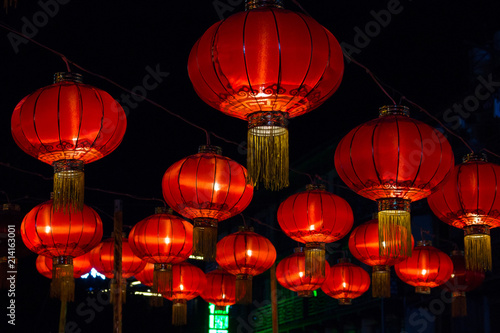 Photo Stands Shanghai Red Chinese Paper Lanterns against