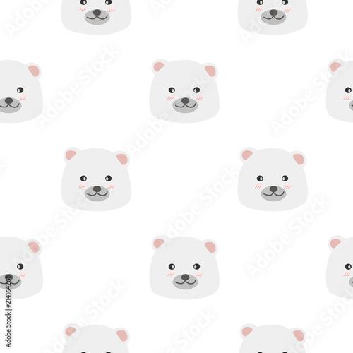 Cute adorable baby white polar bear faces cartoon doodle seamless pattern background wallpaper