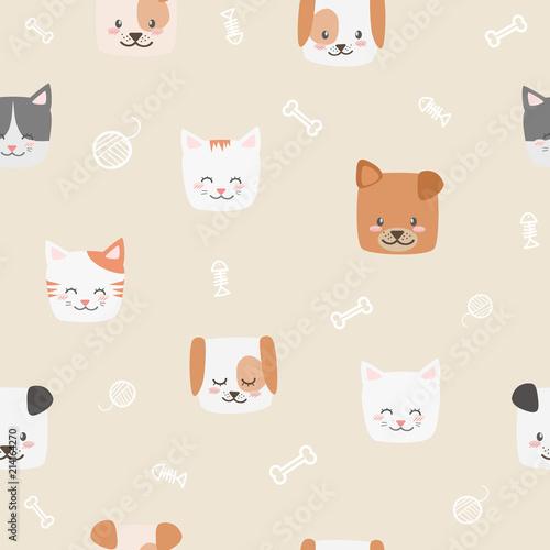 Cute Adorable Pastel Cat Kitten Dog Puppy Cartoon Doodle Seamless