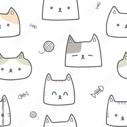 Cute Adorable Pastel Cat Kitten Faces Cartoon Doodle Seamless Pattern Background Wallpaper Buy This Stock Vector And Explore Similar Vectors At Adobe Stock Adobe Stock
