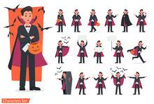 Halloween Dracula With Pumpkin Character Vector Design. No5