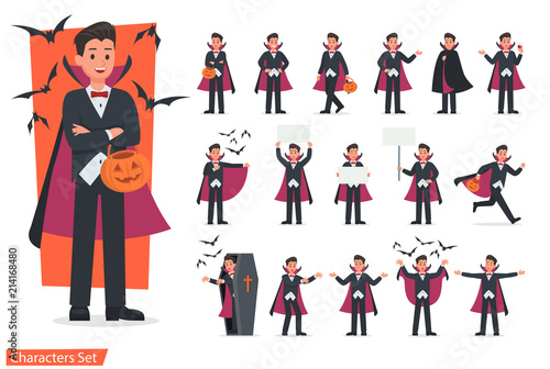 Halloween dracula with pumpkin character vector design. no5 Canvas Print
