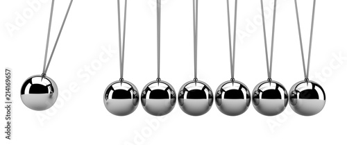 Newton's cradle isolated on white - 3d render Wallpaper Mural