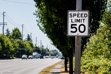 50 Mph Speed Limit Sign On Pos...