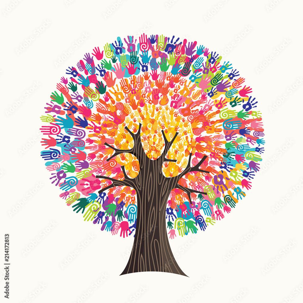 Fototapety, obrazy: Colorful hand print tree concept for social help