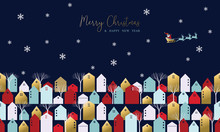 Christmas And New Year Xmas Town Greeting Card