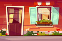 House Facade Vector Illustration Of Entrance Door With Glass And Window Shutter And Awning. Cartoon Background Of Wooden Building Front Exterior With Garden Yard And Flowers In Pot