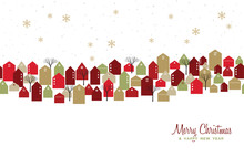 Christmas And New Year Winter Town Greeting Card