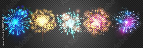 Fotografija Fireworks vector illustration of sparkling bright firecracker lights