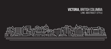 Cityscape Building Line Art Vector Illustration Design - Victoria City , British Columbia