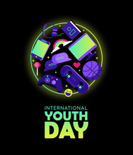 Youth Day Card Of Fun Teen Hobby Icons