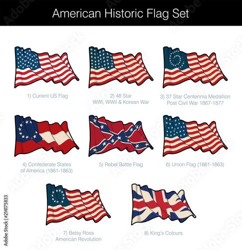 American Historic Waving Flag Set Wallpaper Mural