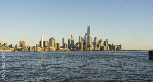 Tuinposter New York City Panoramic view of Manhattan Skyline at twilight time in New York City