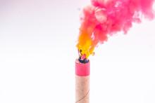 Colour Smoke Bomb, Pink Explosion On White Background