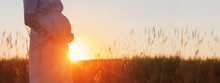 Pregnant Women At Sunset