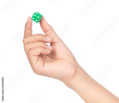 Obraz hand holding plastic dice isolated on white background. - fototapety do salonu