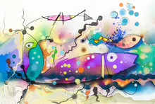 Oil Painting. Abstract Colorful Fantasy Underwater. Illustration Semi Abstract Art. Image Of Fish In Sea. Hand Painted, Children Painting Surreal Style For Background