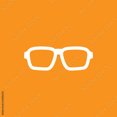 Fotografering  White flat hipster glasses icon isolated on orange background